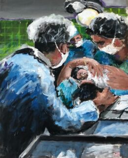 Mother and OB GYN in Delivery Room With New Birth