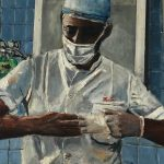 Painting Surgeon Removing Gloves