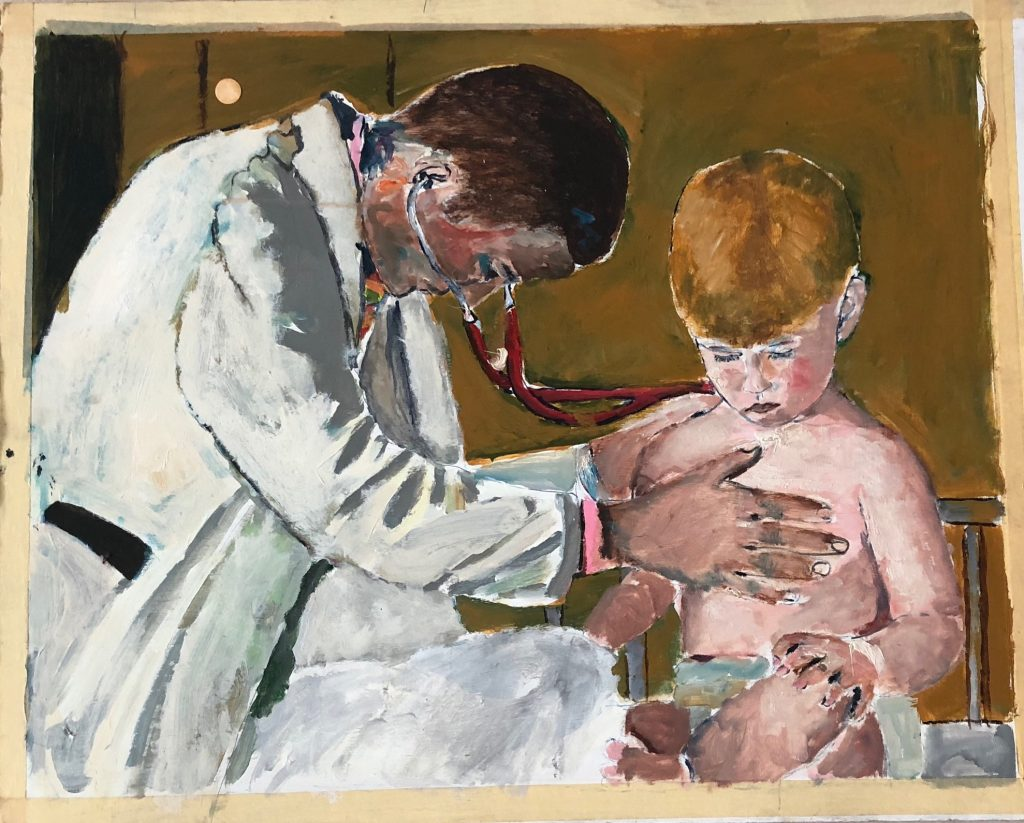 doctor using stethoscope on little boy
