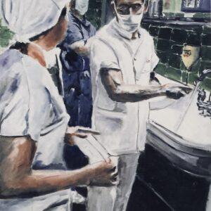 Surgeon Scrubbing Hands Preparing For Surgery
