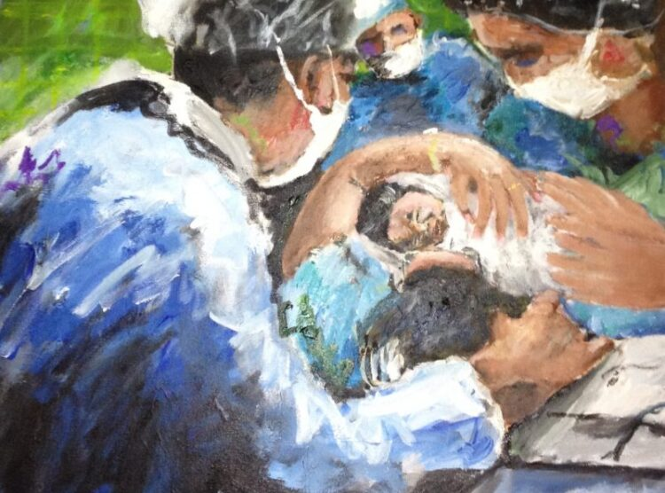 Mother Holding New Birth After Delivery Art for Sale