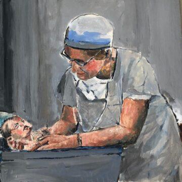 Woman OB GYN Caring for New Birth