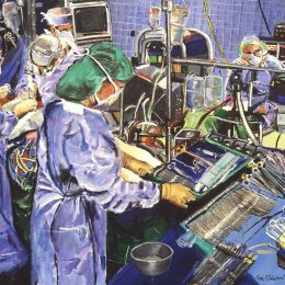 Around the operating table responsible surgeons function as a team. Click here to view painting.