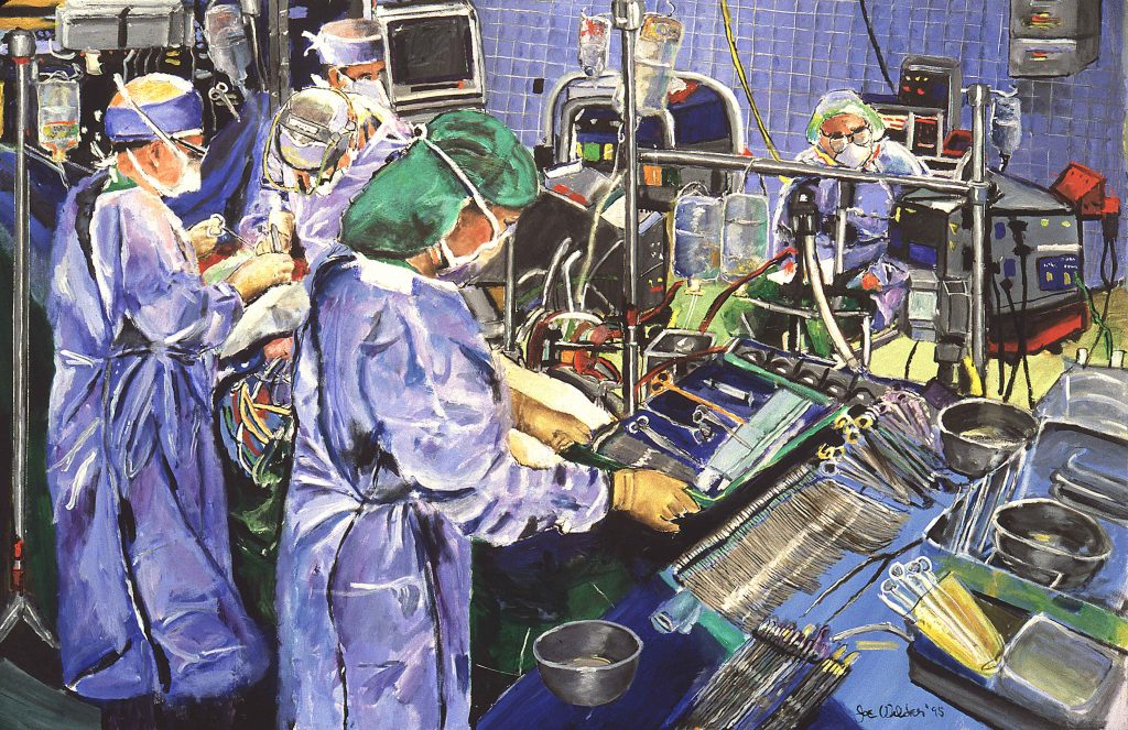 doctors in the operating room performing cardiac surgery