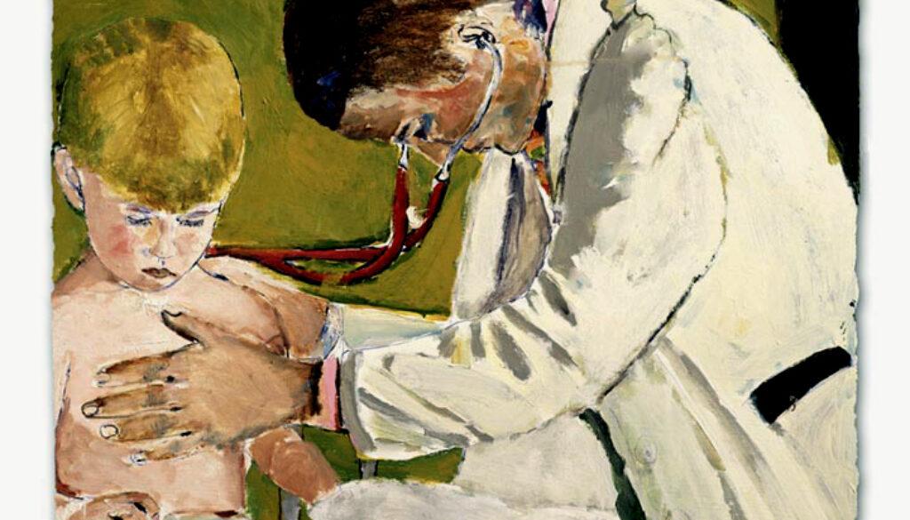 Pediatrician examining patient painting
