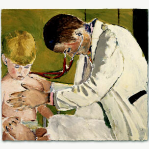 Painting 'Pediatrician Examining Small Boy'