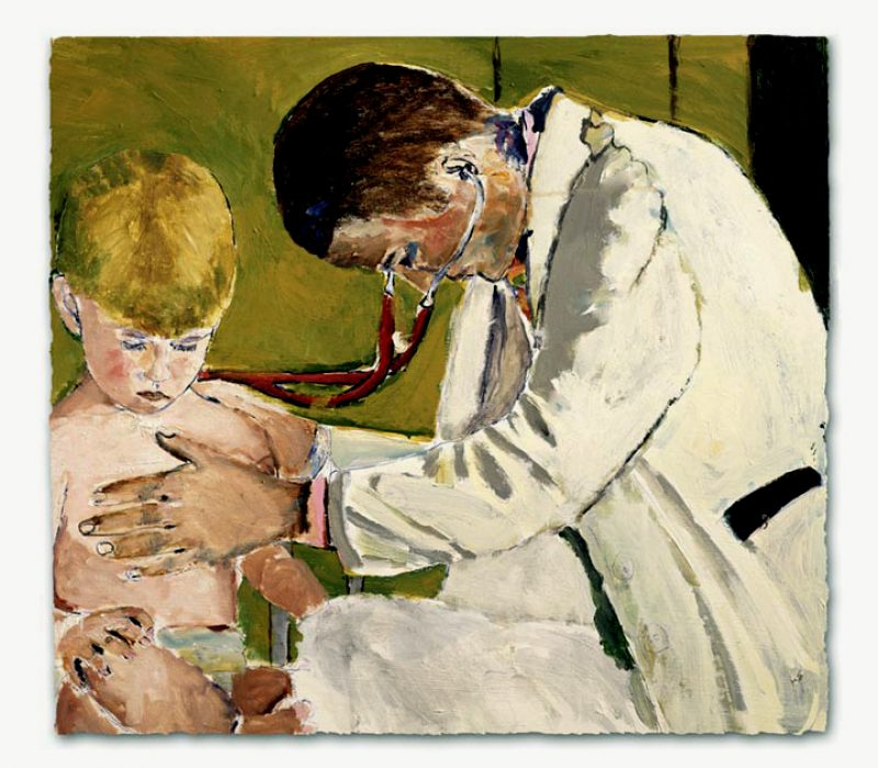 Pediatrician examining patient painting