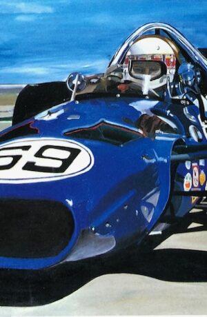 Blue Race Car Racing To Win