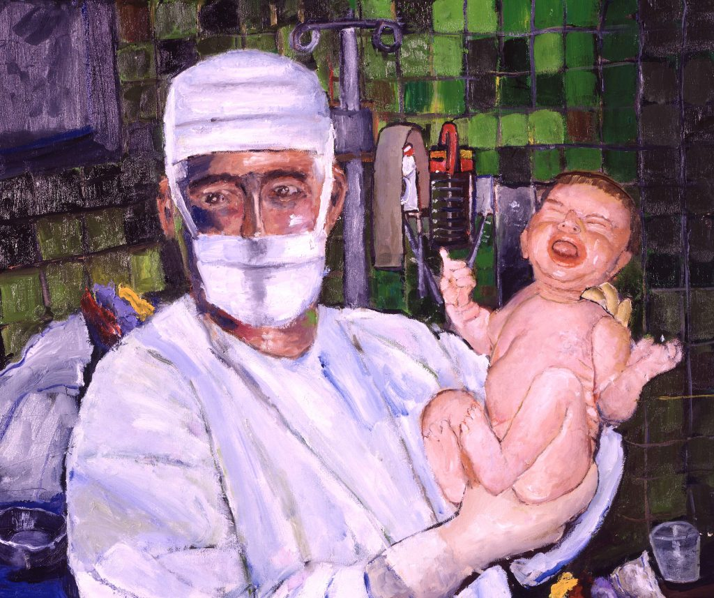 Obstetrician joy of new born medical art painting