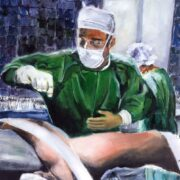 Orthopedic Surgeon Prepping For Surgery – Original Wall Art Canvas Print