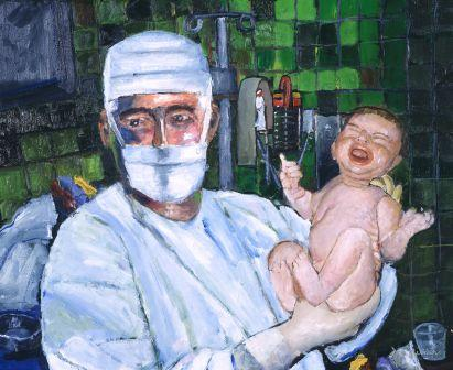obstetrician doctor new born canvas print medical art