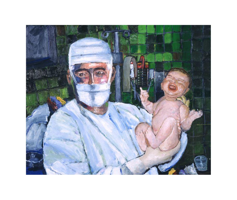 obstetrician new born canvas print medical art