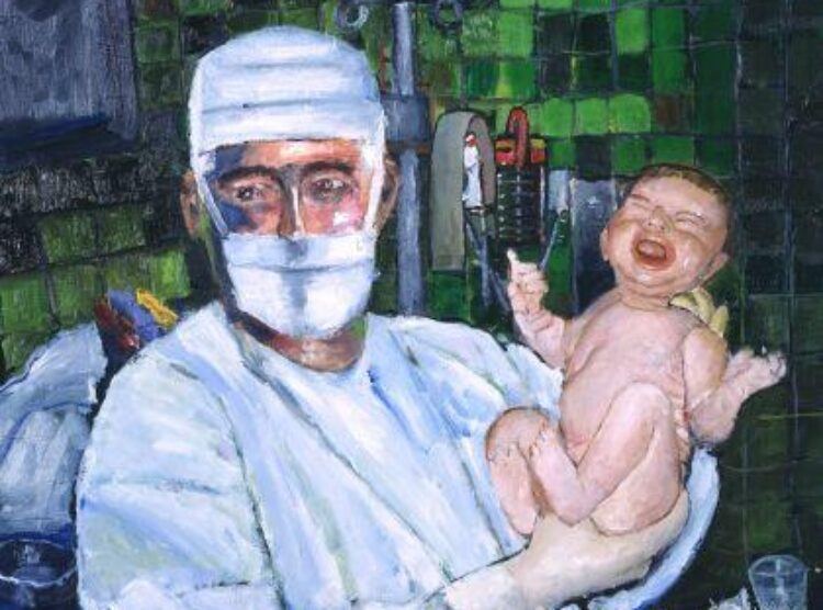 Museum Quality Giclee Obstetrician Holding New Birth