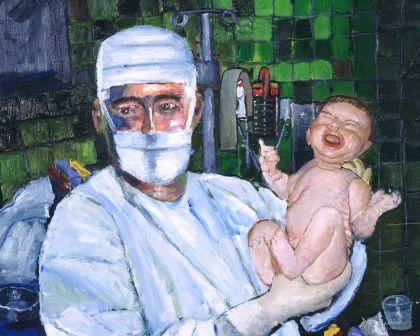 obstetrician new born canvas print medical art baby doctor