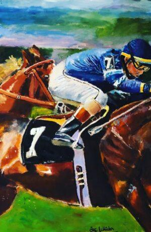 Horse Racing Jockey Riding Thoroughbred Horse to Finish Line