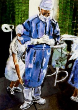 Contemplation Before Surgery Artwork of Surgeon Preparing for Surgery