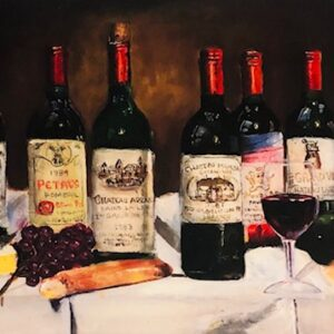 Wine Bottle Lithograph Art For Walls