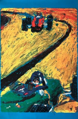 Race Car Lithograph