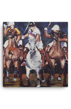 Polo Players Riding Horse in Competition