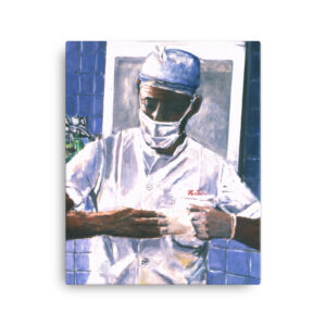 Surgeon Removing Gloves Canvas Wall Art Print