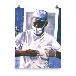 Surgeon Removing Gloves After Surgery Poster