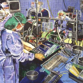 OR Nurse Working With Surgeon in Operating Room