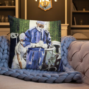 Surgeon Contemplation Before Surgery - Premium Pillow Printed on BOTH Sides