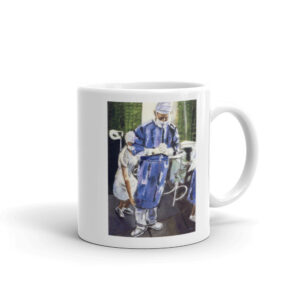 Surgeon Contemplation Before Surgery White glossy mug