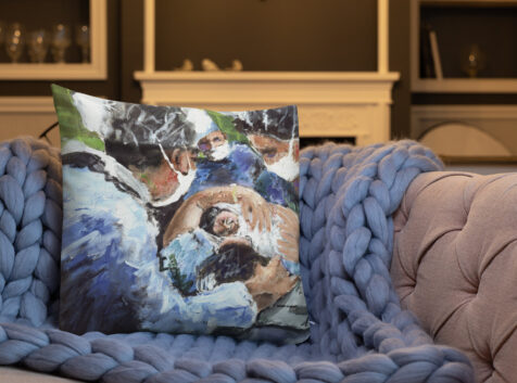 A New Birth, Mother and OB GYN Art Pillow