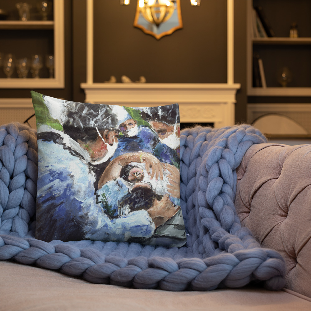 A New Birth, Mother and OB GYN Premium Art Pillow