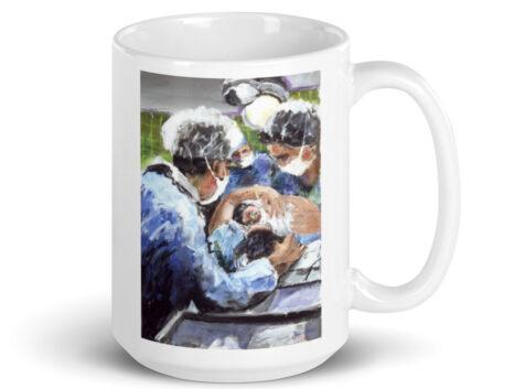 A New Birth, Mother and OB GYN White 15oz Glossy Coffee Mug
