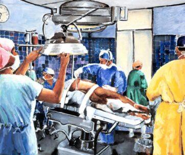 Orthopedic Surgeon Prepping Patient