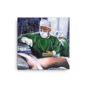 Orthopedic Surgeon Prepping For Surgery - Original Wall Art Canvas Print
