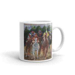 Horse Racing Art Thoroughbred Horse Racing Artwork Coffee Mug - Gift Horse Racing Fans