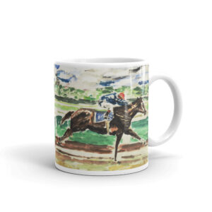 Single Race Horse Artwork Thoroughbred Racing Horse Wins Coffee Mugh