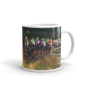 Horse Racing Thoroughbred Horse Jockey Art Horse Racing Coffee Mug Gift Horse Racing glossy mug